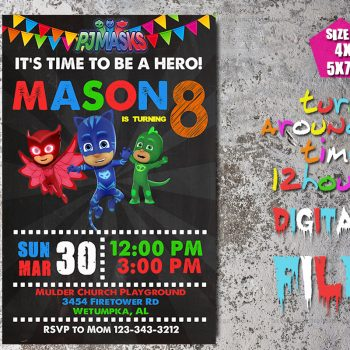 Pj Masks Invitation, Pj Masks Birthday Party, Superheroes, Superhero, Hero, Hero Invitation, Pj Mask, Personalized, Printable, Digital File