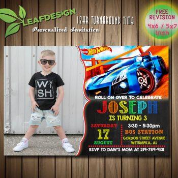 Hot Wheels Invitation, Hot wheels Birthday Invitations