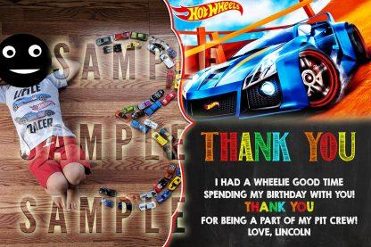 Hot Wheels thank you card