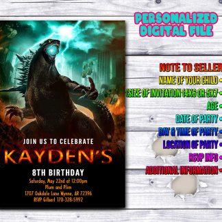 Godzilla Invitation, Godzilla Birthday Invitation