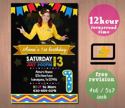 the wiggles invitation, the wiggles invite, emma the wiggles, the wiggles birthday invitation, the wiggles partyinvitation, the wiggles birthday invite
