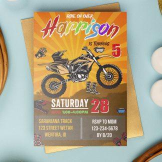Motocross Invitation, dirt bike invitation, Motocross birthday invitations